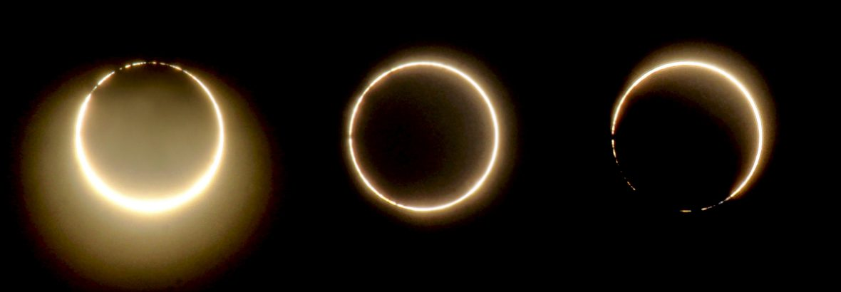 A sequence of a rare hybrid solar eclipse.