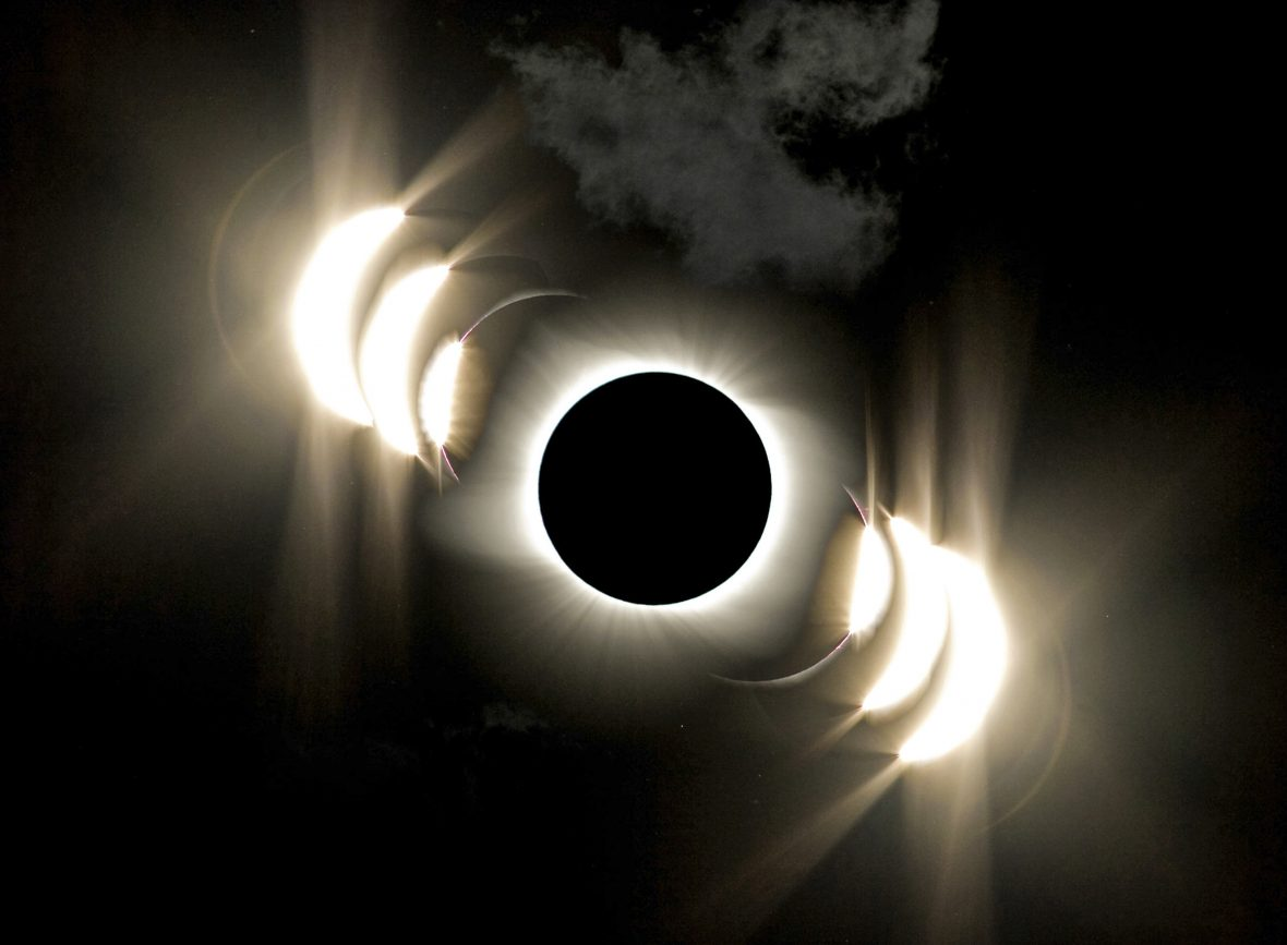 Sequence of images of the sun during a total solar eclipse.