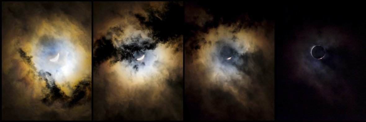Photo sequence showing the moments to a total solar eclipse.