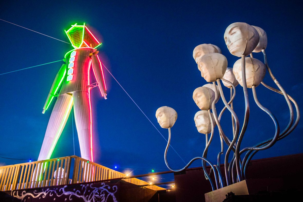 The 'Lumiphonic Creature Choir', an installation at Burning Man.