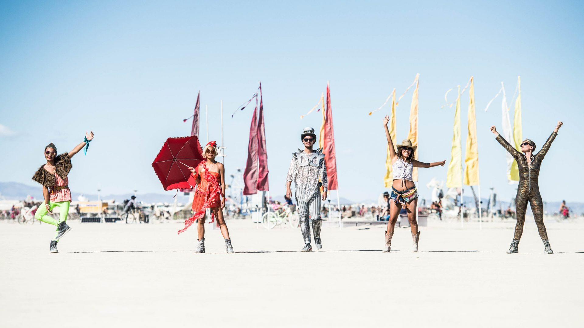 Nicola (far right) and her friends at Burning Man.
