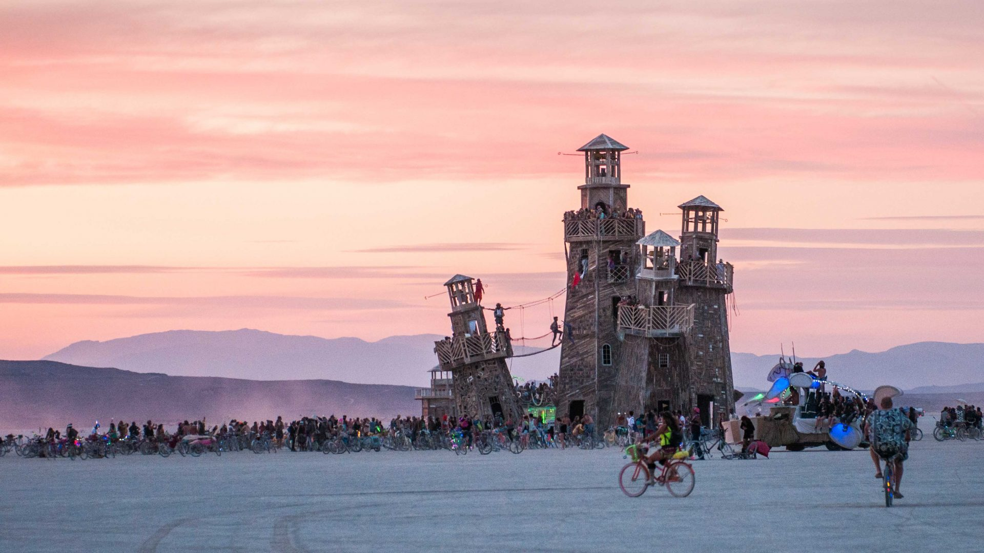 One of the art installations stands out against the sunset at Burning Man.