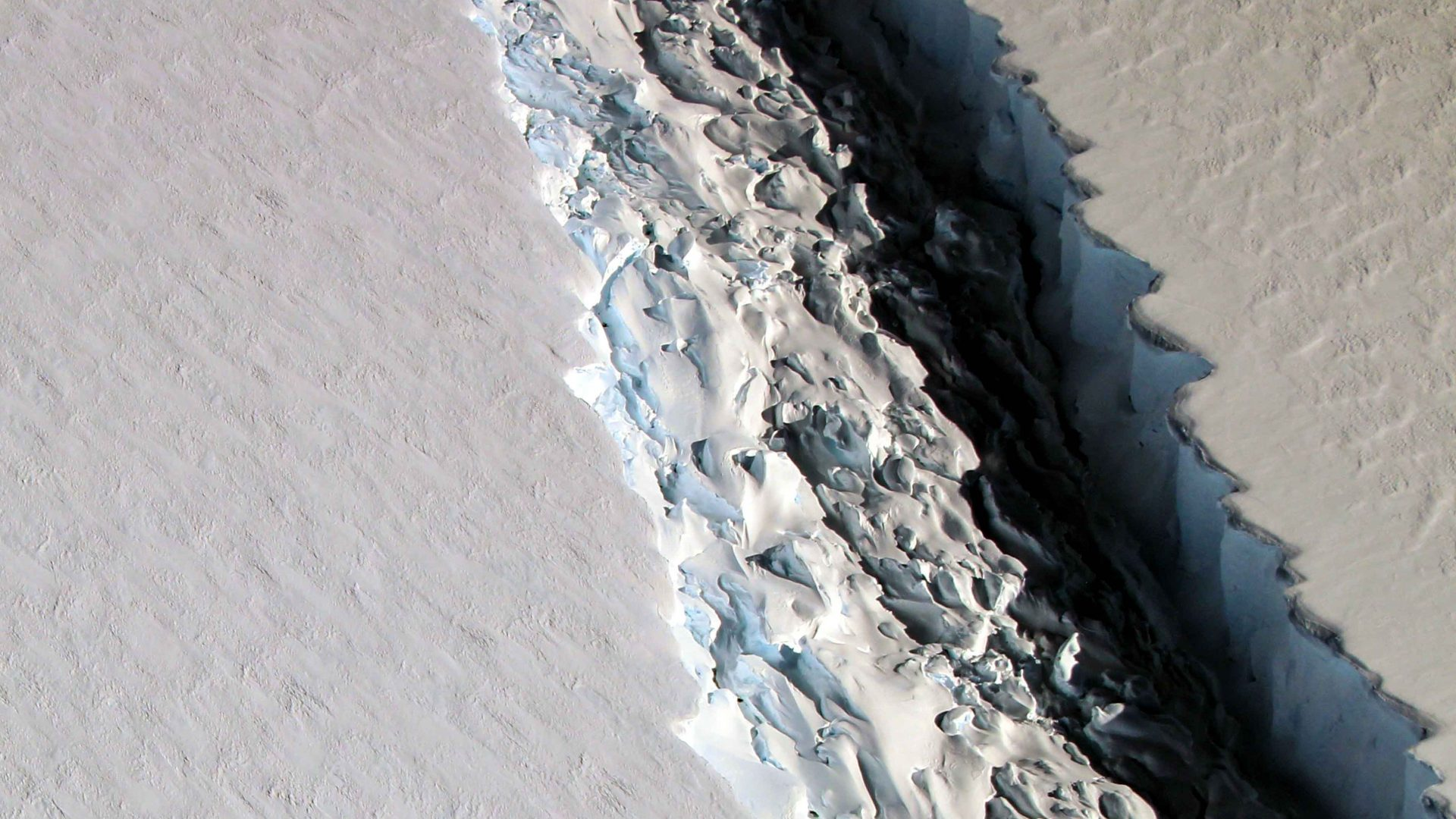A close up of the Larsen shelf which is breaking apart, threatening to send a huge iceberg into the ocean.