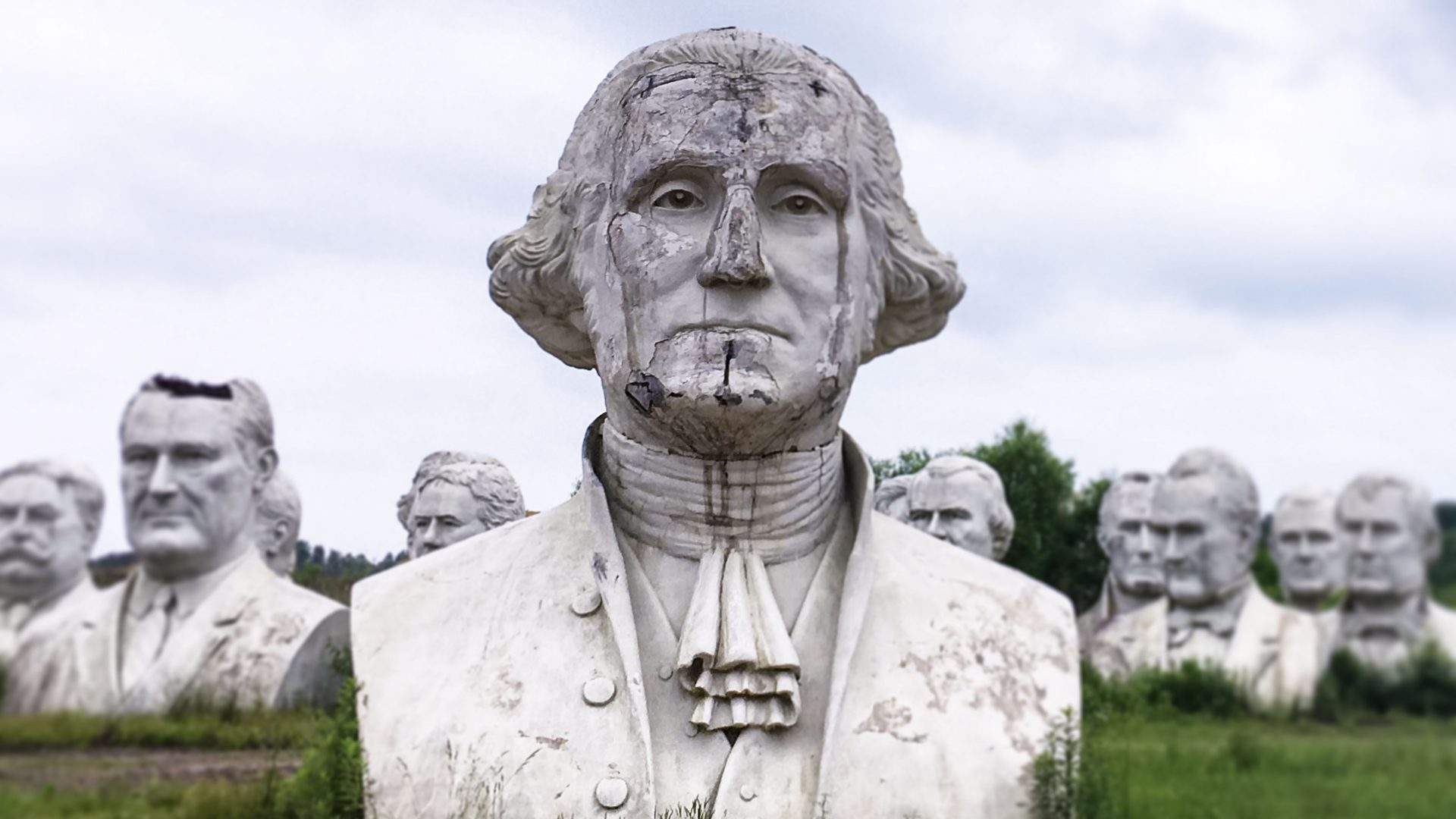 Busts of former US presidents occupy the land of Croaker farmer Howard Hankins in rural Virginia.
