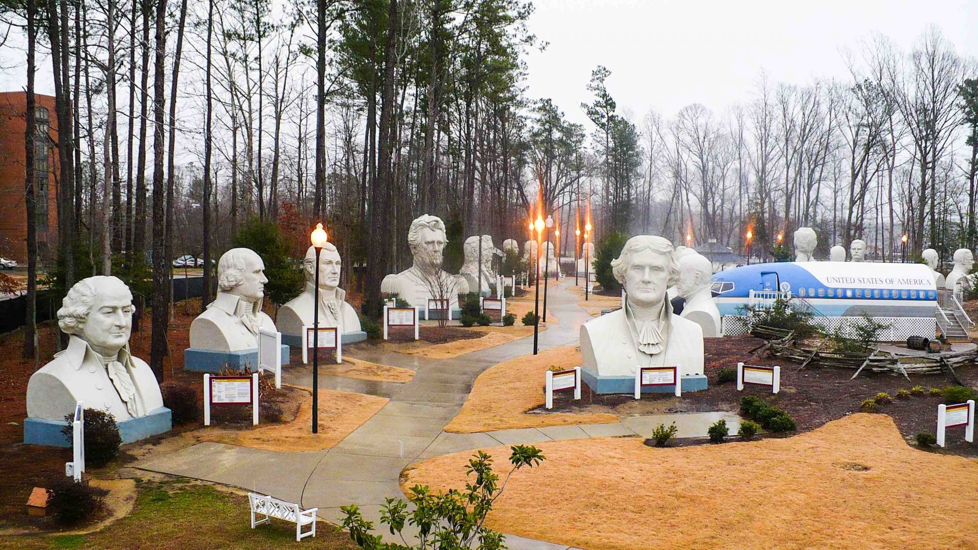 Presidents Park, a sculpture park in Virginia that while now closed, previously housed the busts of most of the former US presidents.