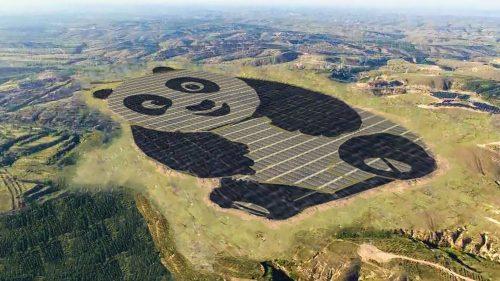 China has built a solar farm built like a giant panda. Photo courtesy of Panda Green Energy Group.