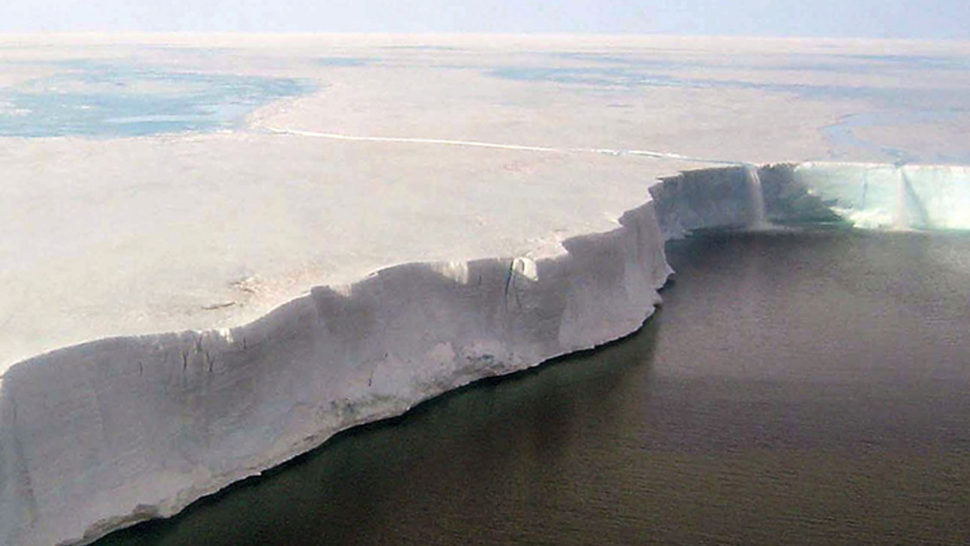 A stretch of the Larsen shelf which is poised to break completely apart, sending a huge iceberg into the ocean.