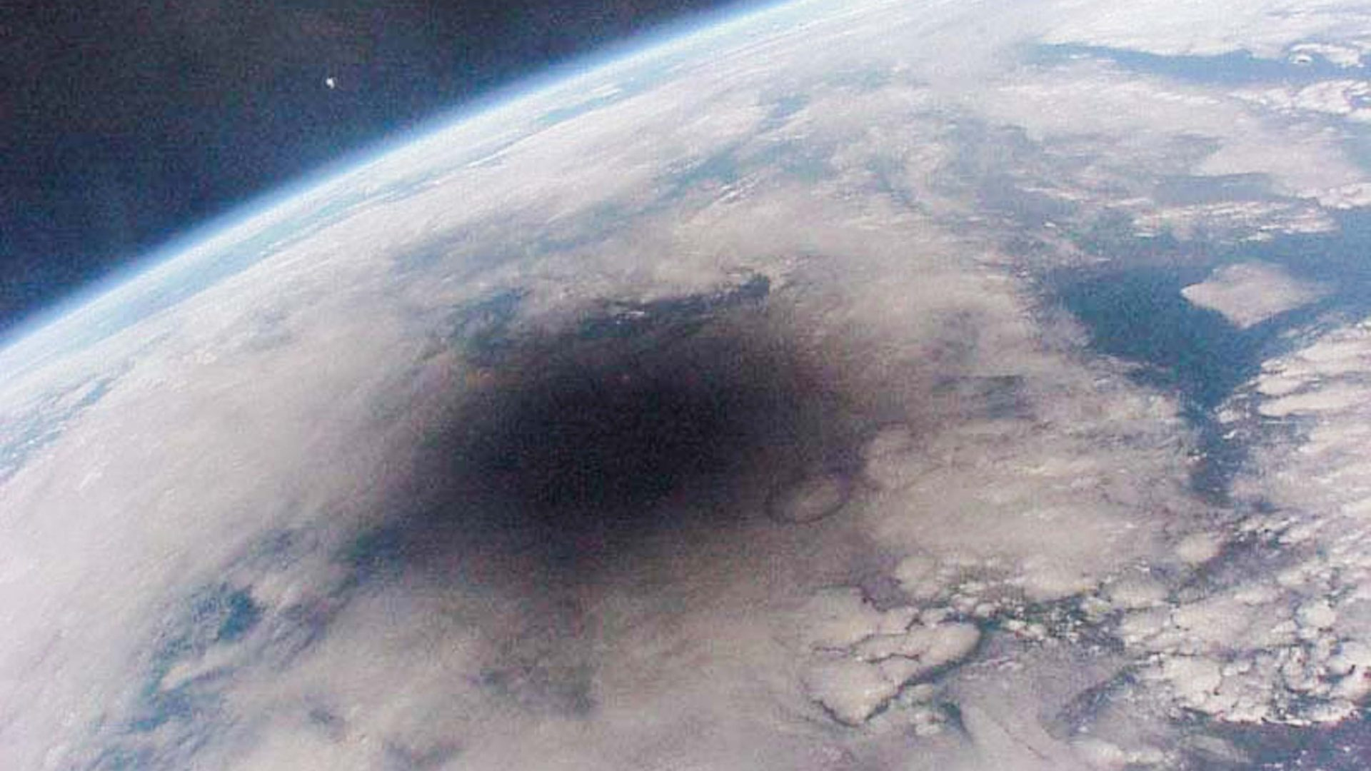 The earth during a solar eclipse.
