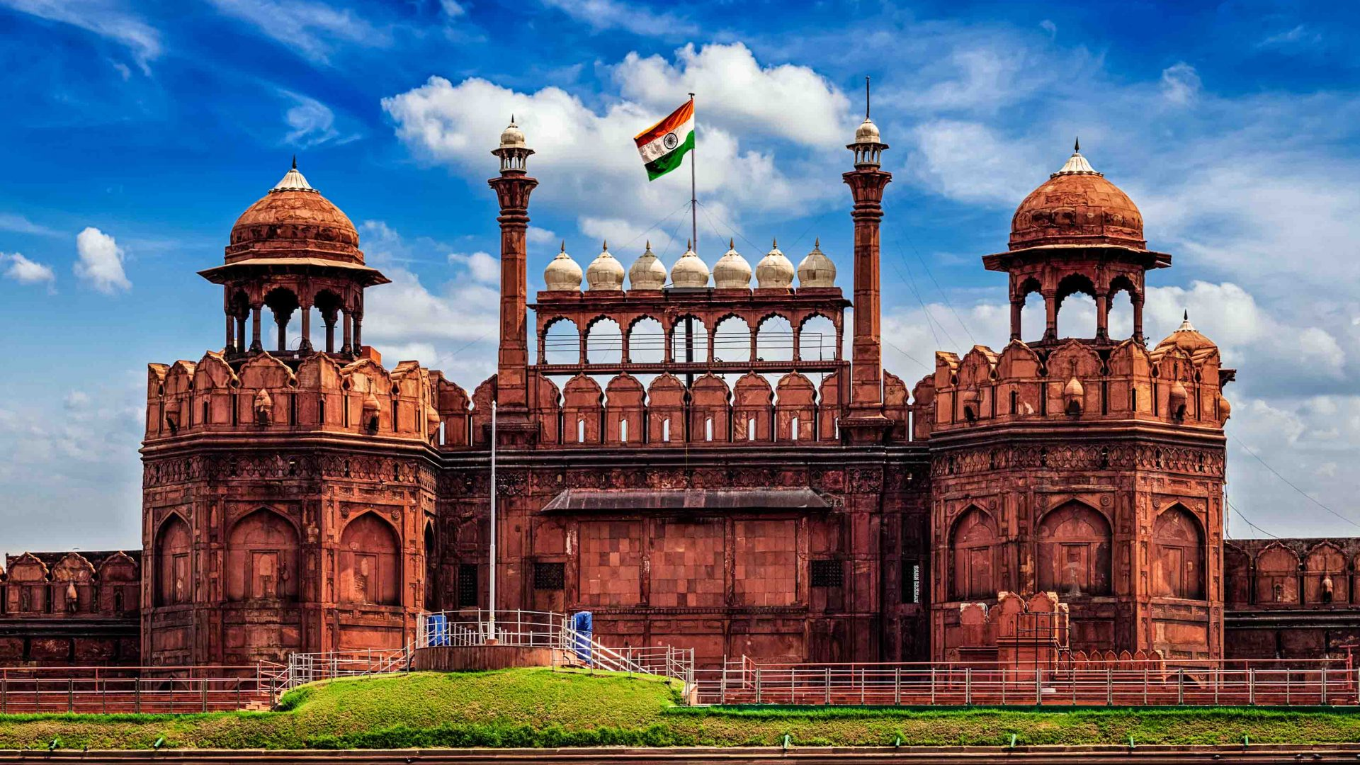 Partition at 70: The Indian flag sits proud atop the Red Fort in Delhi, India.