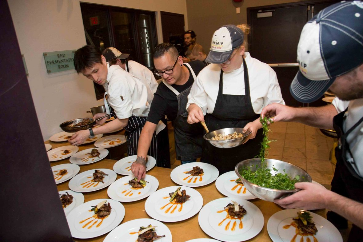 Canada First Nations cuisine: First Nations chef Shane Chartland prepares food.