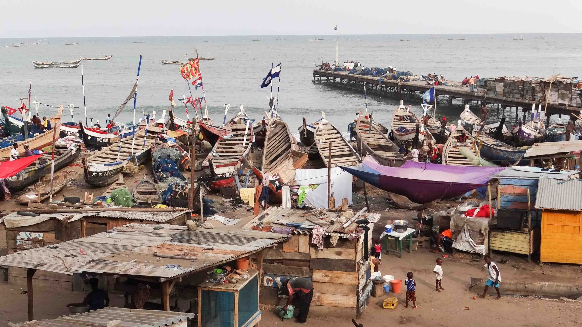 The hustle and bustle of a fishing community in Jamestown, Accra, Ghana.