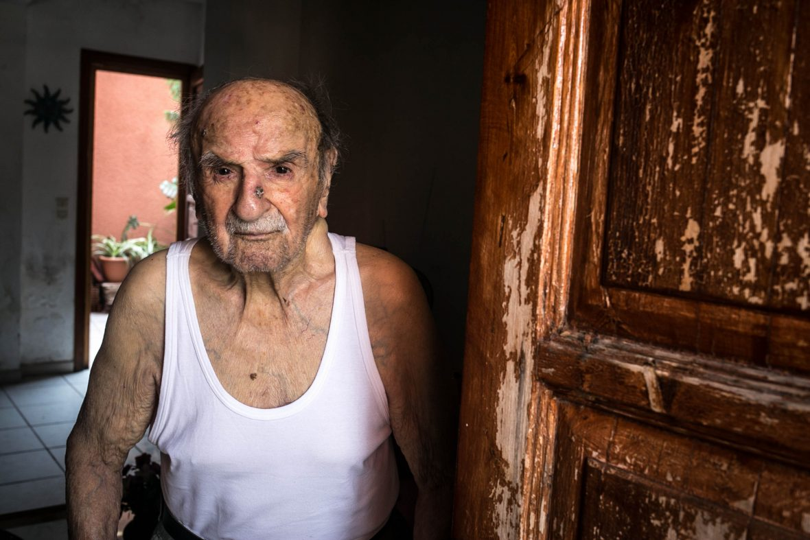 Kostas Panos is one of the olders people in the island. He is now 104 years old and still manage to live independently.