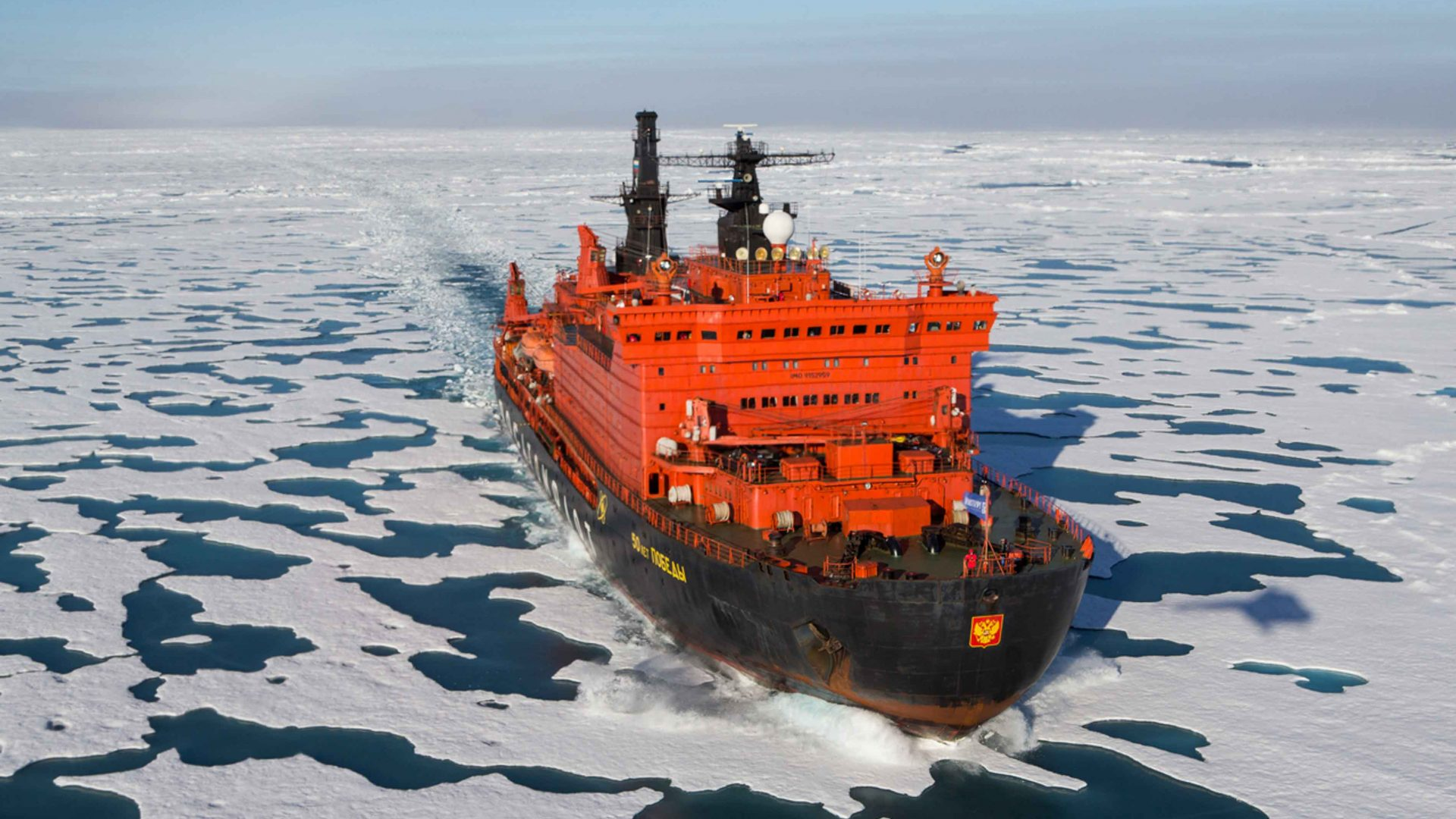 Icebreaker boat en route to the North Pole.