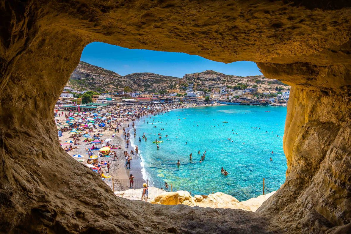 Matala beach's caves that were used by hippies in the 1970's as places to stay in Crete, Greece.