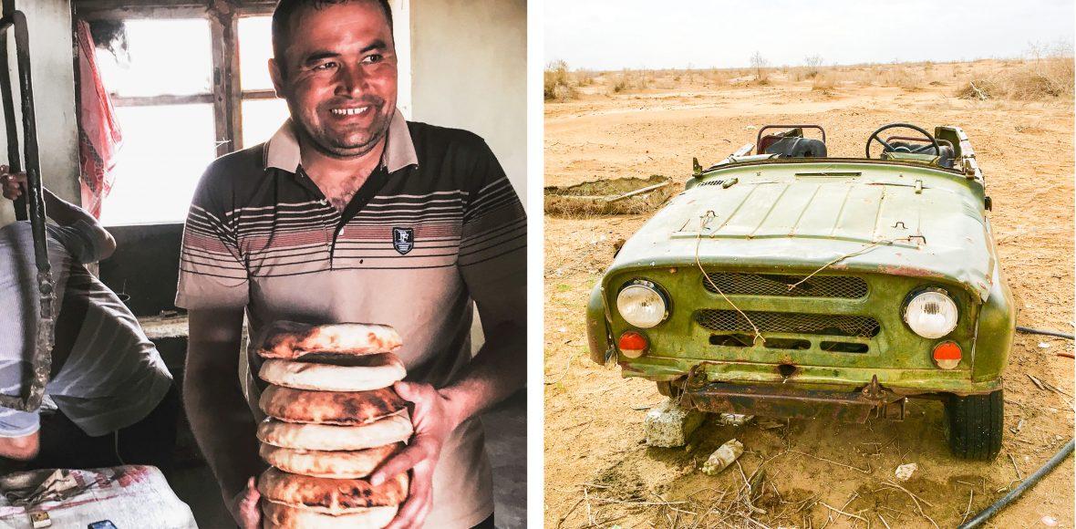 A Uzbekistan baker who does a good trade in absence of roadside stops and a deserted car in Karakalpakstan.