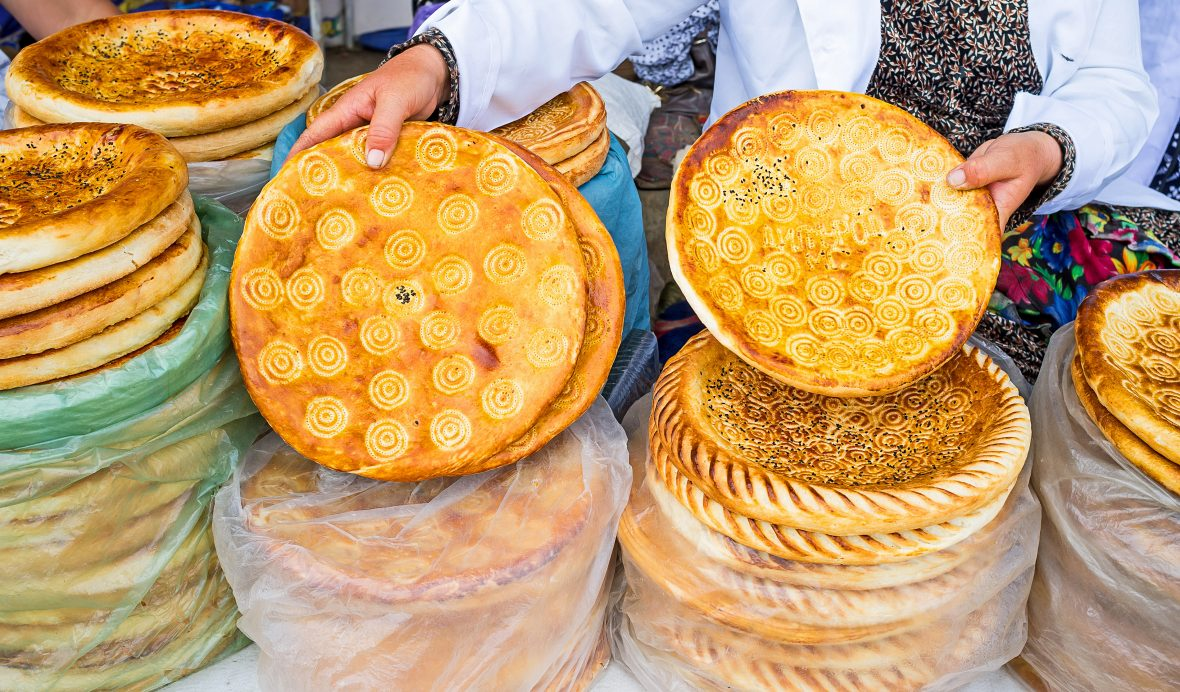 Traditional bread in a market in Uzbekistan.