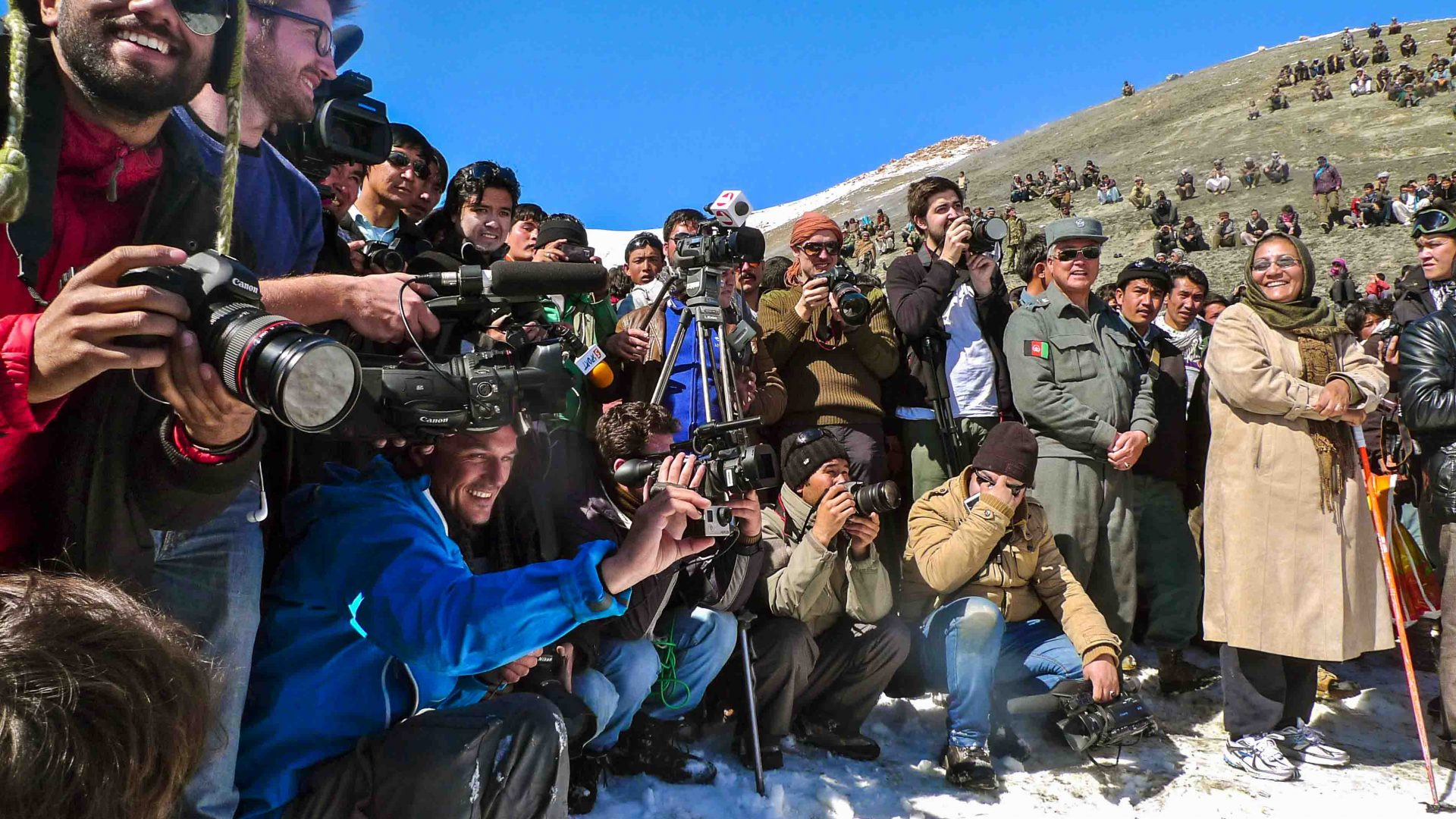 Photographers line up at the Afghan Ski Challenge.