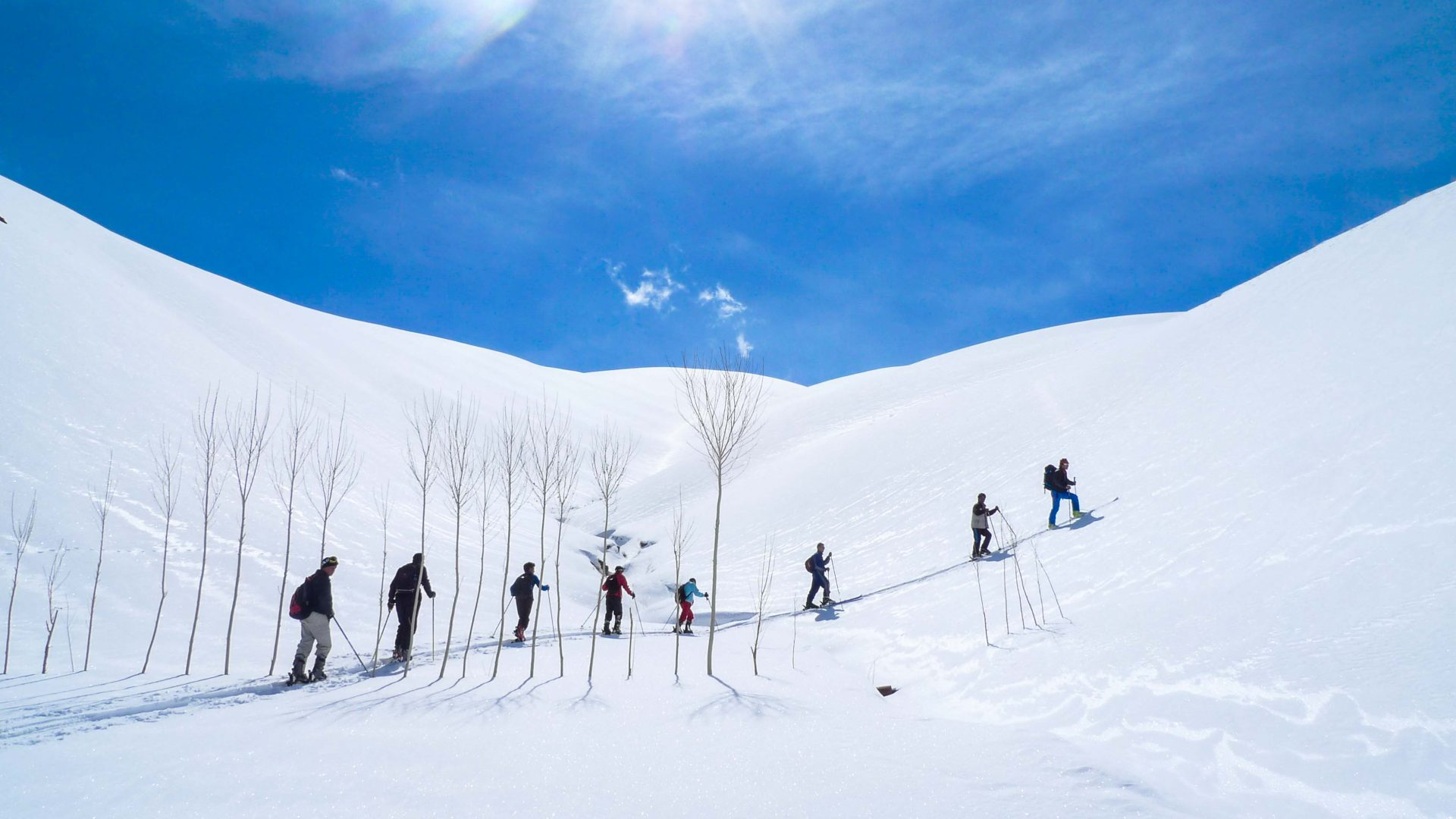 With chairlifts not an option at the Afghan Ski Challenge, competitors make the arduous journey by foot up the mountains.