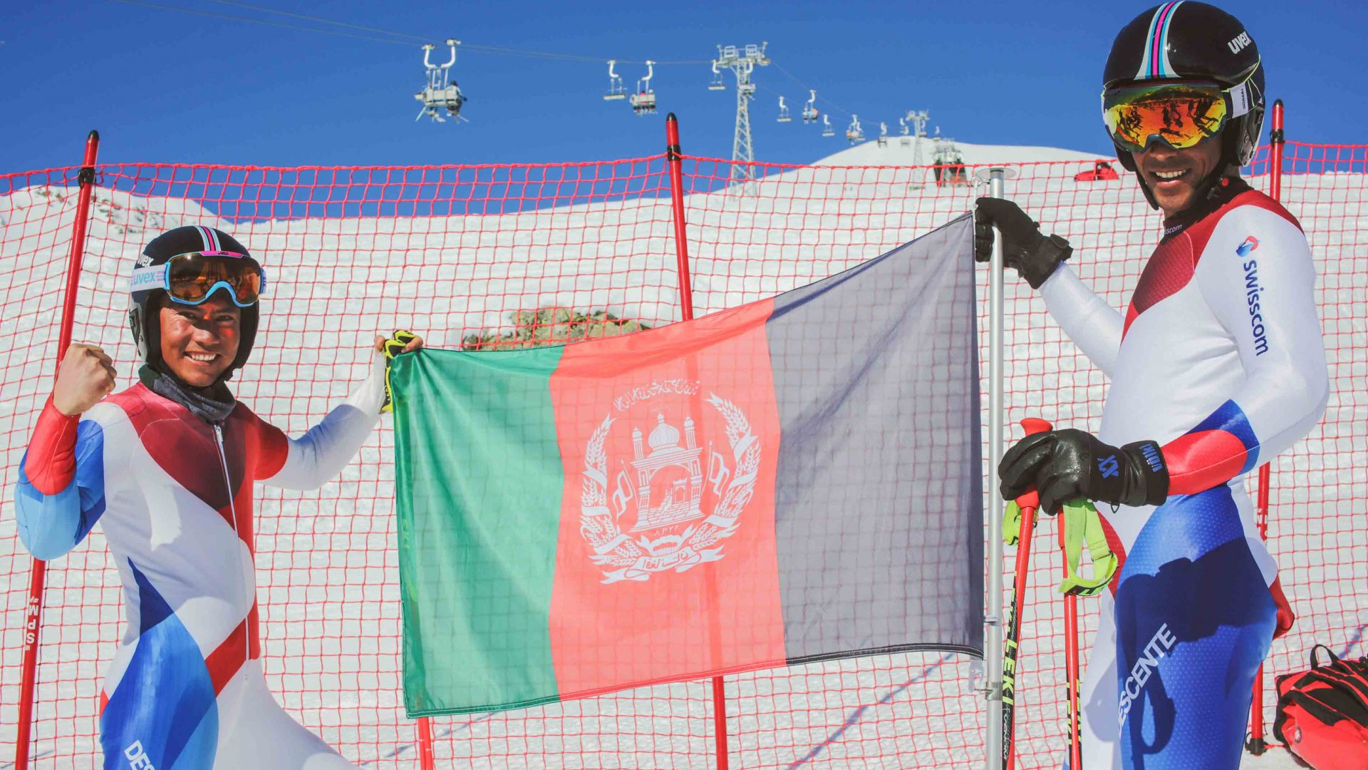 Afghani skiers Alishah and Sajjad in St Moritz, Switzerland.