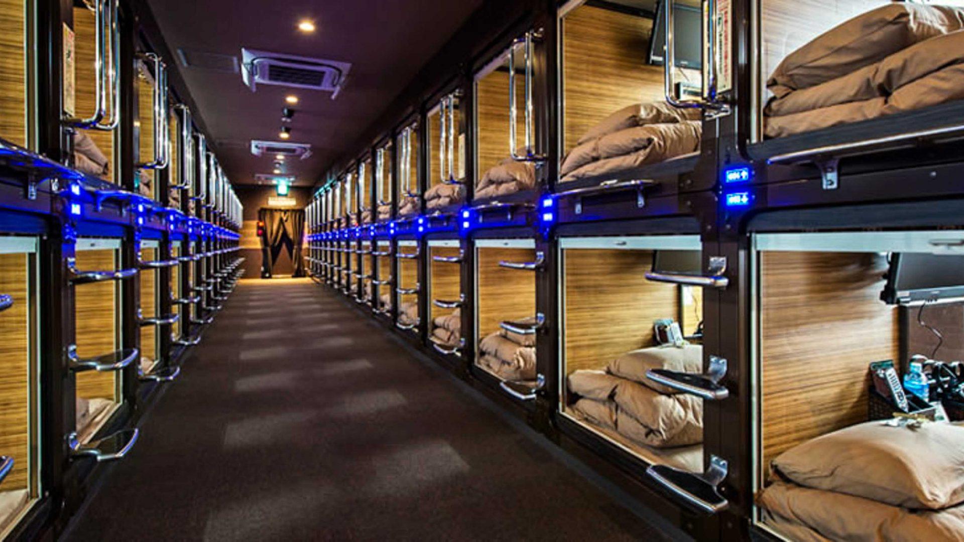 Inside Tokyo's capsule hotels: Rows of capsule rooms at Anshin Oyado.