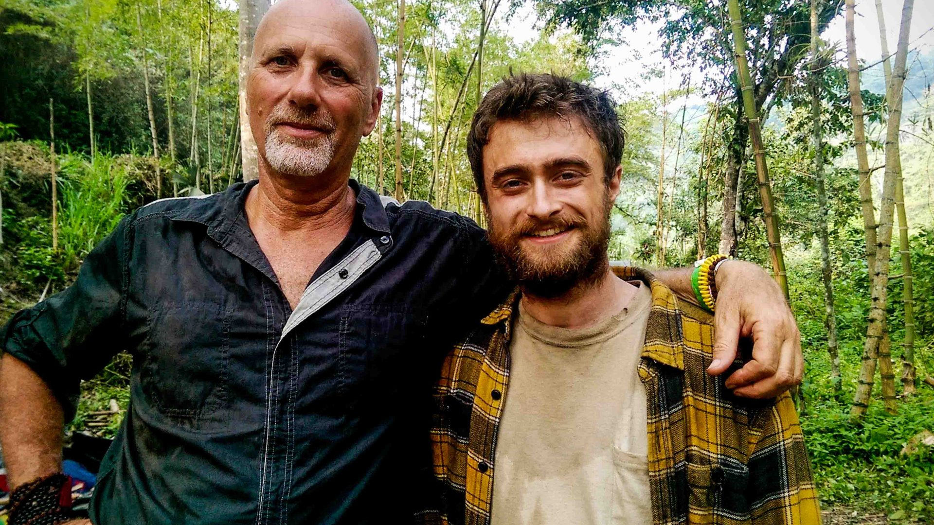 Yossi Ghinsberg with actor Daniel Radcliffe on the set of 'Jungle', the film about his experience being lost in the Bolivian Amazon.