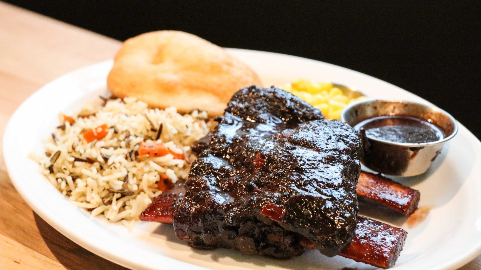 Canada First Nations cuisine: Bison ribs served at Feast Café Bistro.