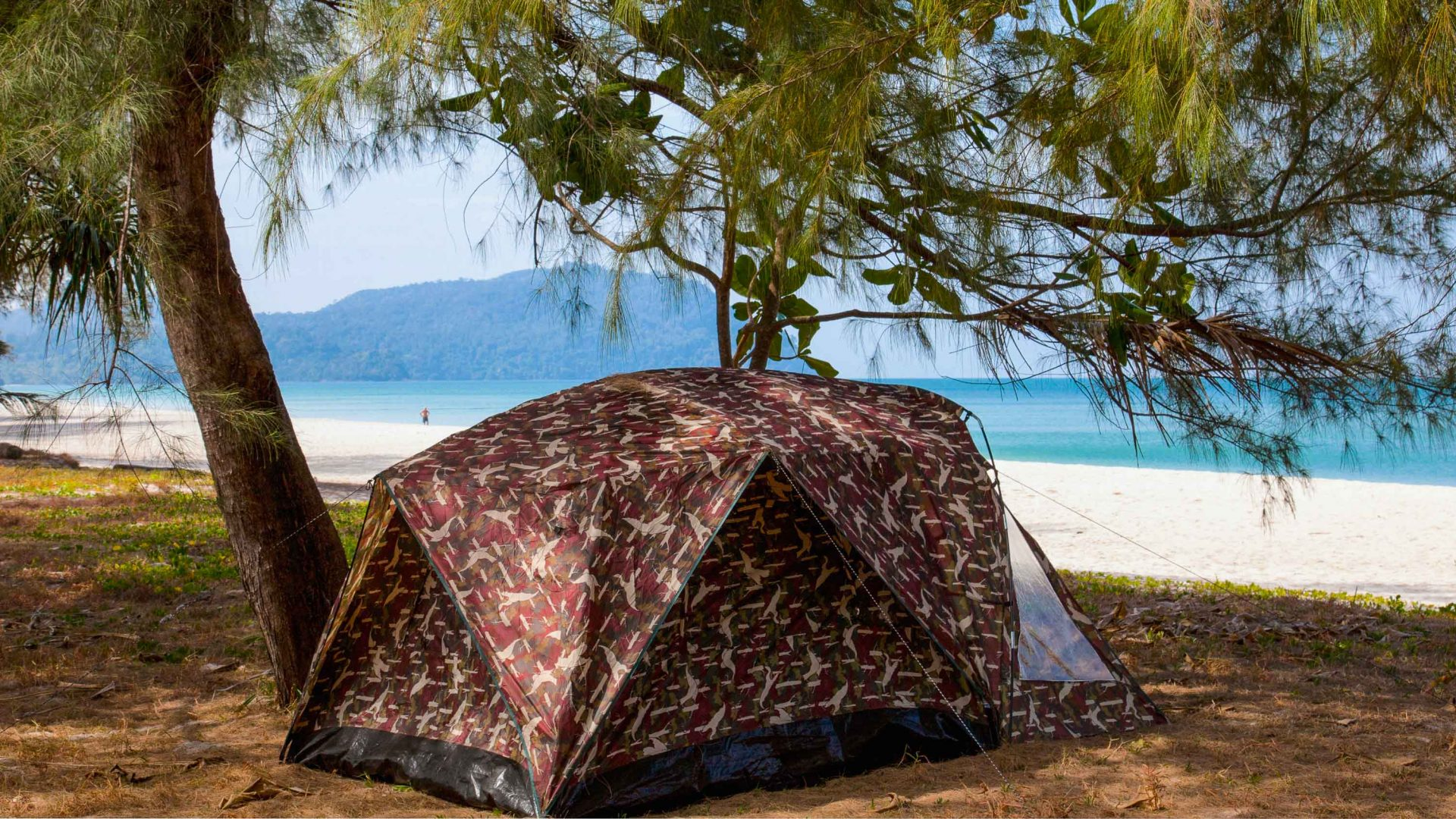 Visitors camping at Ao Pante Malaka Bay on Koh Tarutao.