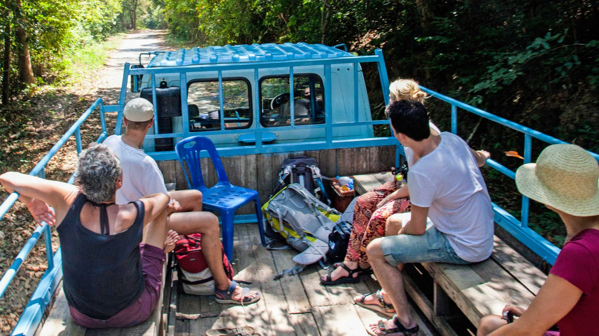 Visitors are transferred by the local National Park truck.