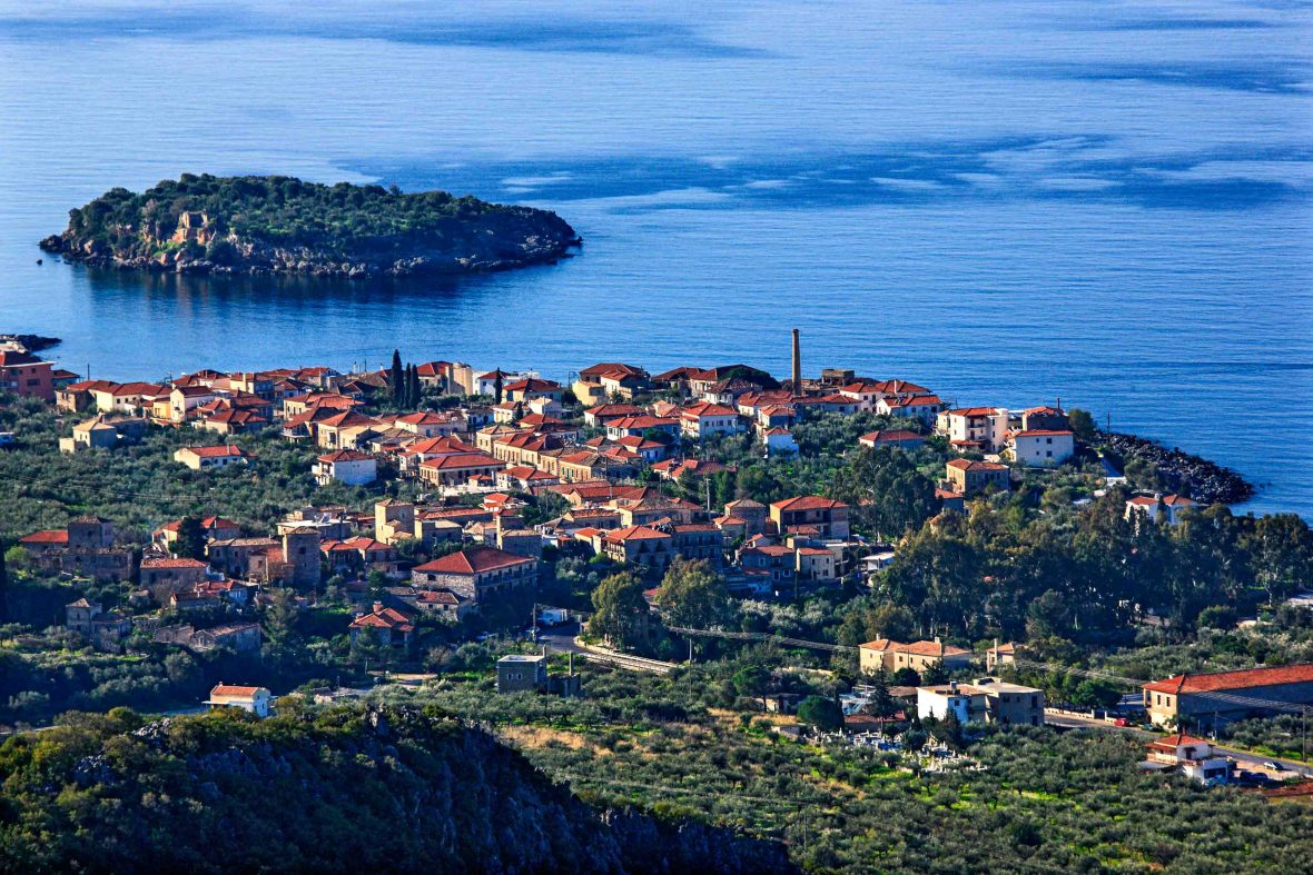 The mesmerizing view over the seaside town of Kardamyli on Greece's remote Mani Peninsula in the southern Peloponnese.