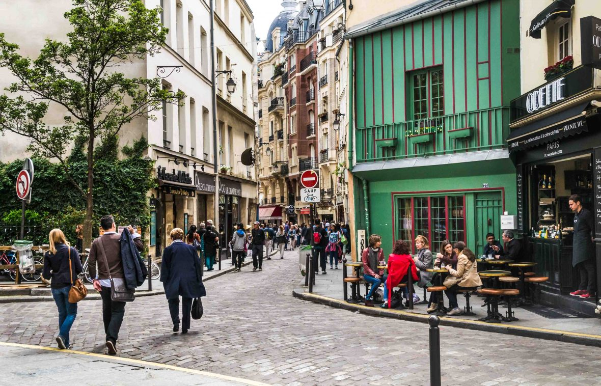 The lively Rue Galande in Paris' Latin Quarter.