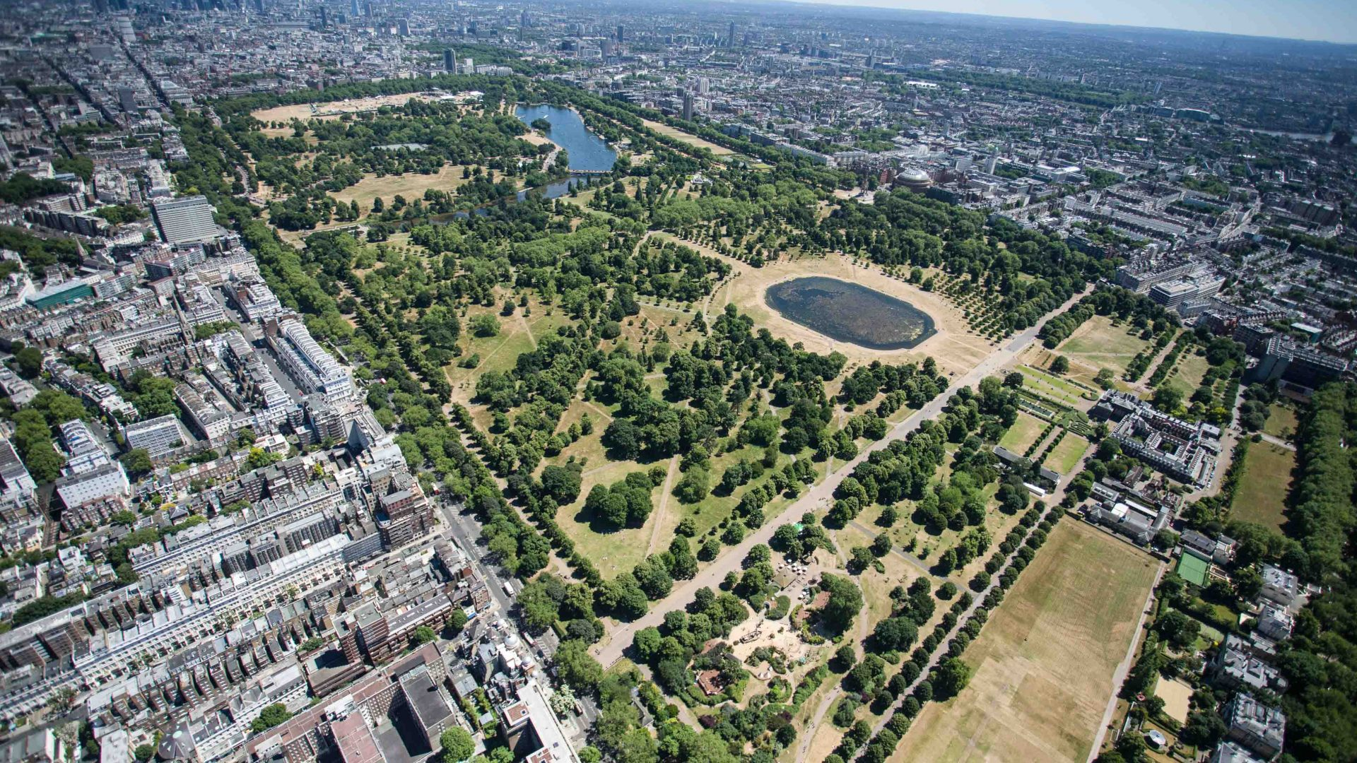 London National Park City: An aerial photo shows Hyde Park in London.