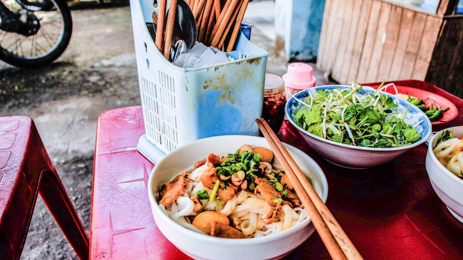 Vietnamese street food in Da Nang, Vietnam.