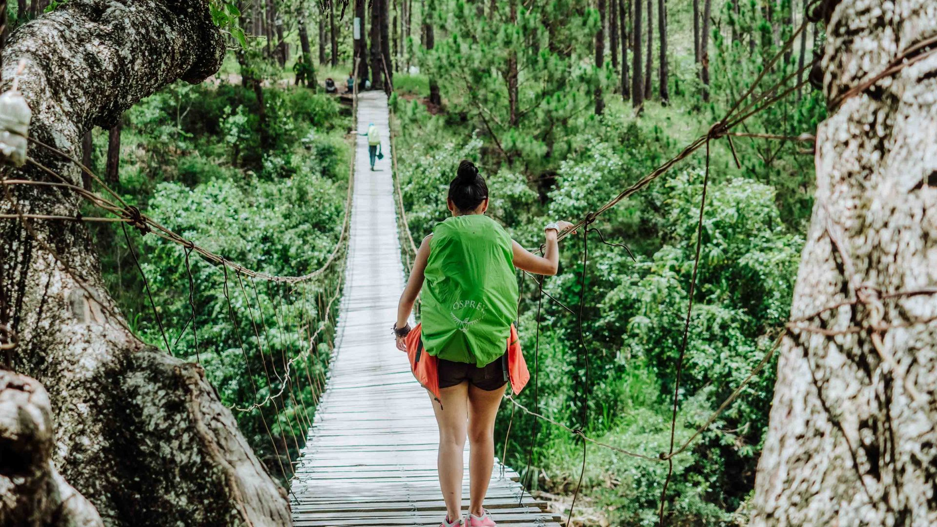 A woman hikes through the lush, verdant forests around Da Lat in Vietnam's Central Highlands.