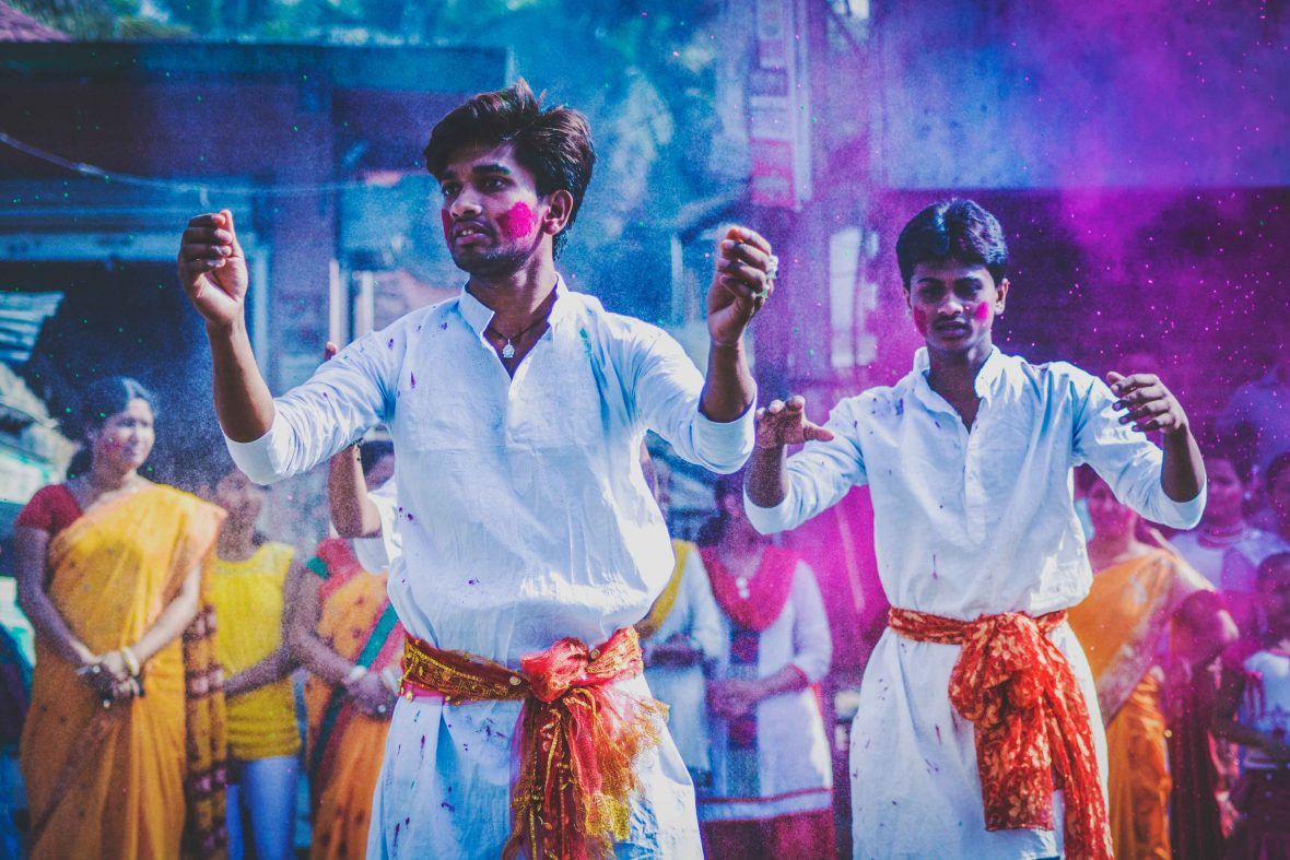 Locals enjoy the colors and chaos of the Holi Festival in Kolkata, India.