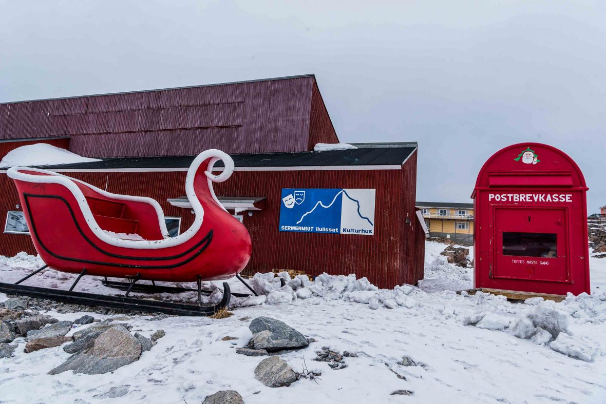 A mailbox and sledge for Santa Claus in Ilulissat, Greenland.