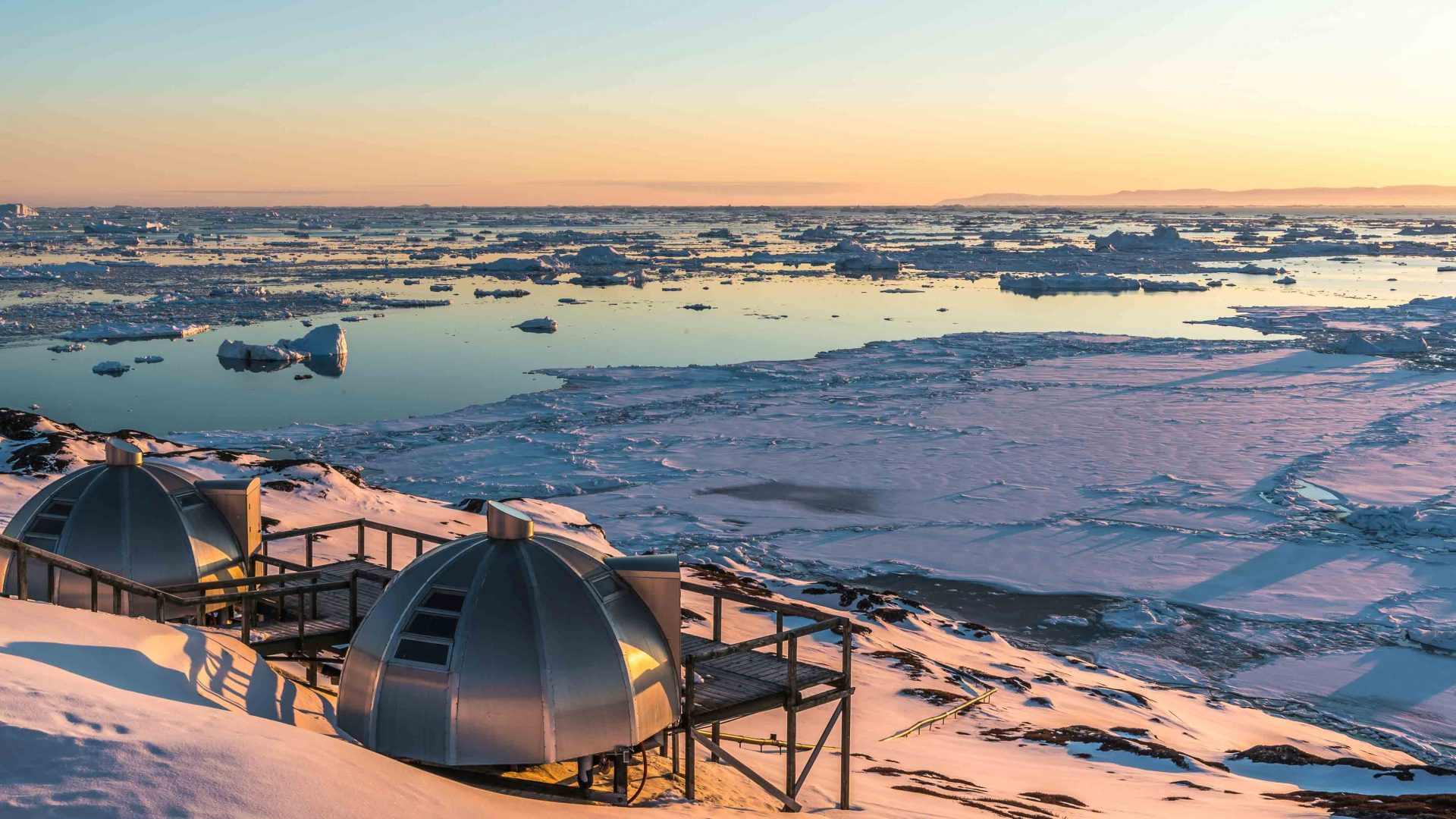 Metal igloos can be viewed from the observation deck of the Hotel Arctic in Ilulissat, Greenland..