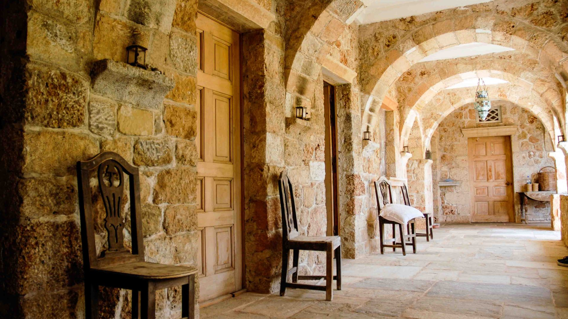 Labor of love: Gentle arches and natural light at Patrick Leigh Fermor's home in Greece's spectacular Mani peninsula.