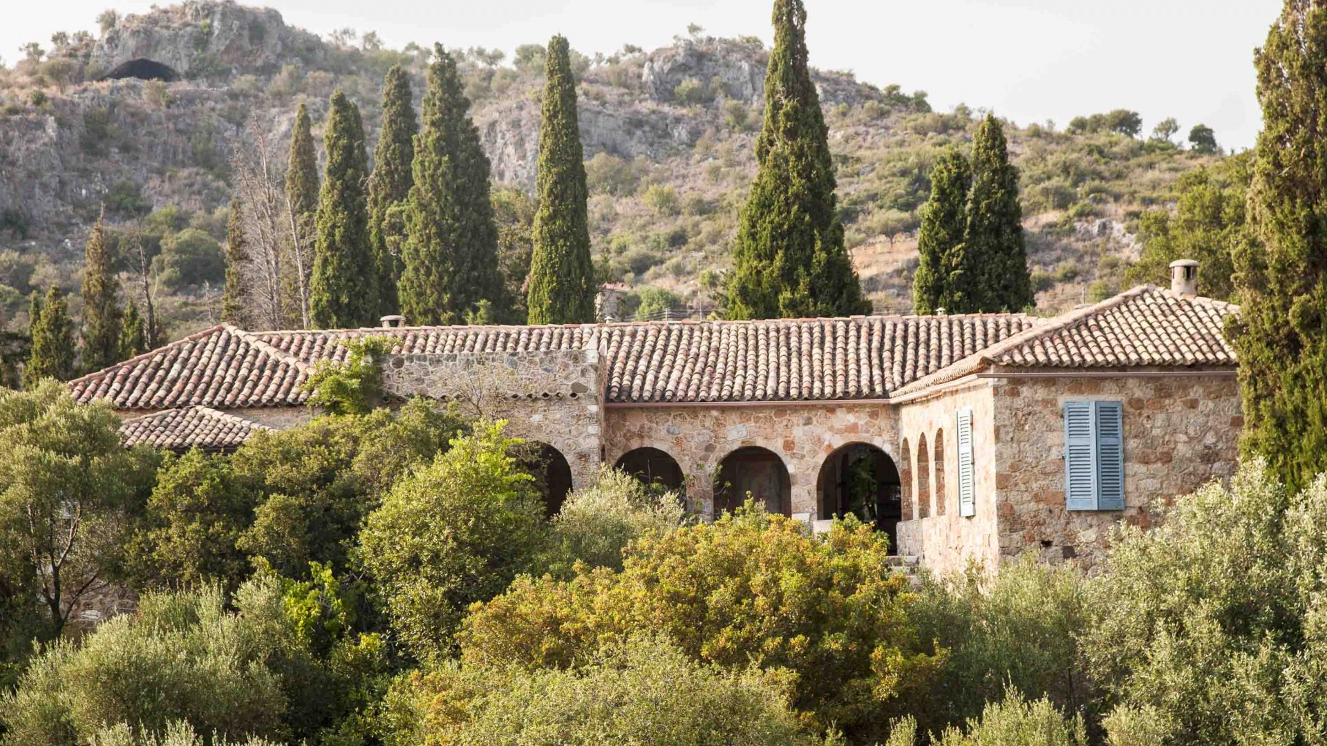 The home of celebrated travel writer Patrick Leigh Fermor in the village of Kalamitsi in Greece's Mani peninsula in the southern Peloponnese.