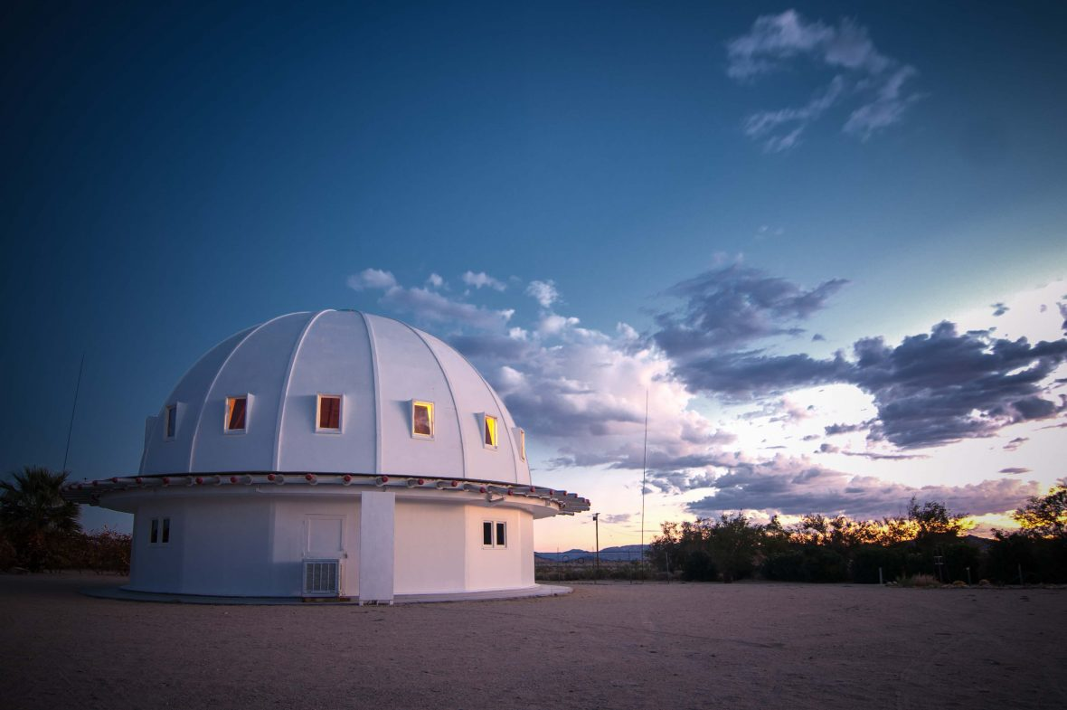 Dusk sets the sky blue over the Integratron in the Mojave Desert.