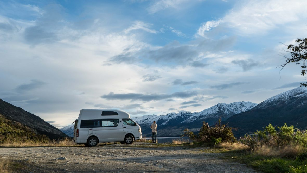 A campervan at Lake Wanaka, New Zealand.