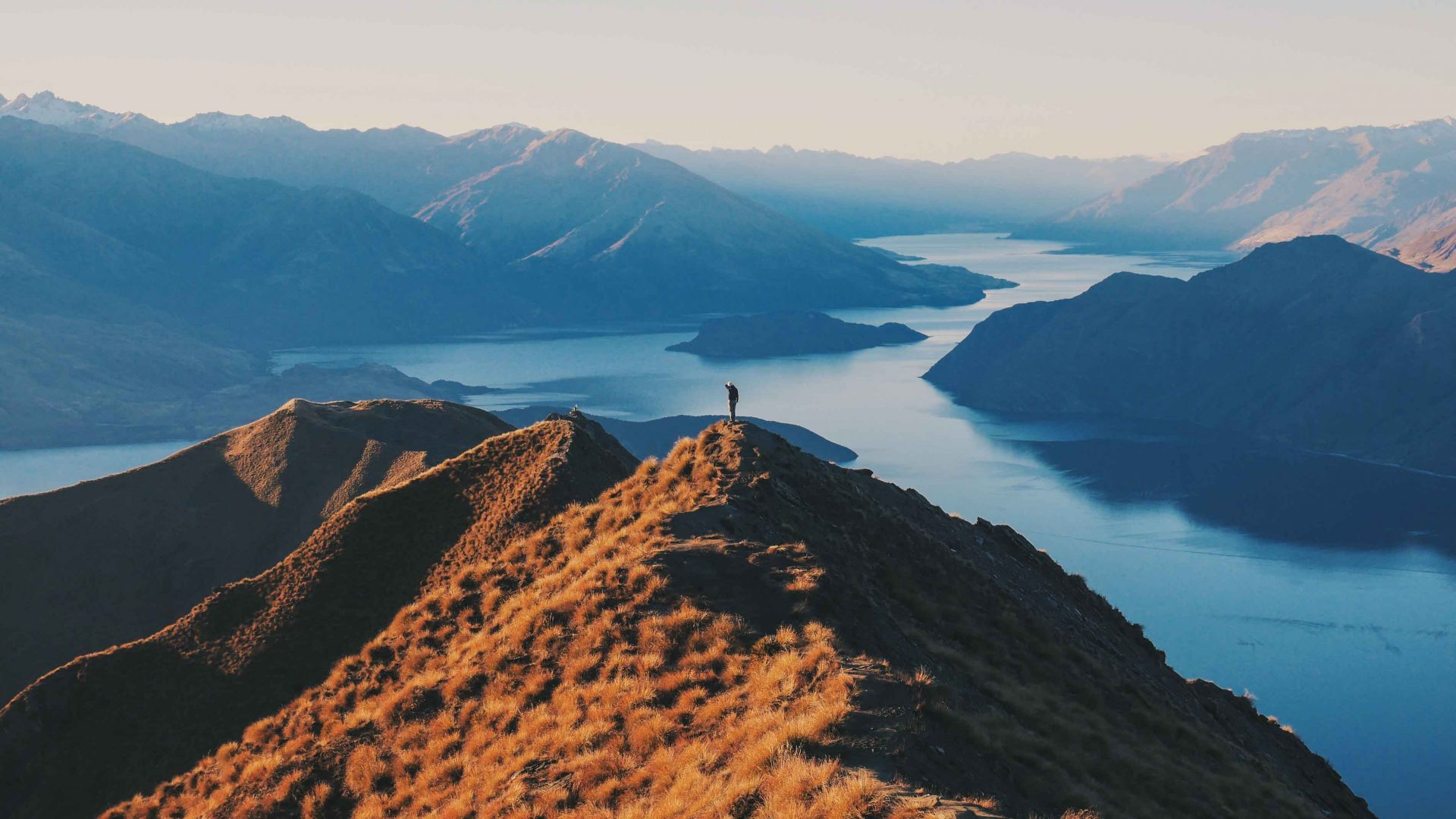 A view of Lake Wanaka from the summit of Roys Peak, New Zealand.