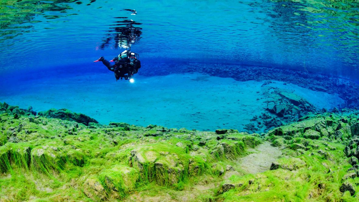 The astonishing clarity of the water in Iceland's Silfra fissure, a gap between two tectonic plates.