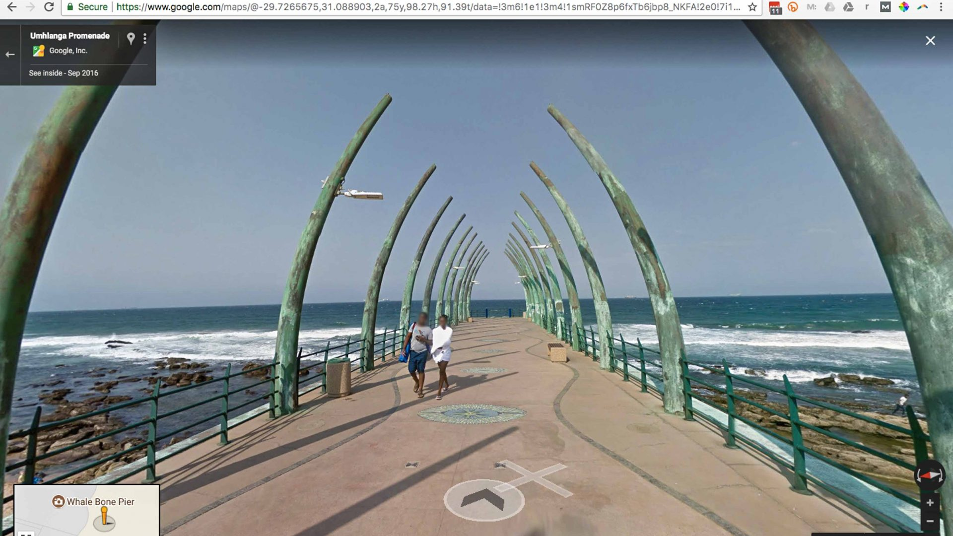 Google Street View screenshot of the Umhlanga Pier in South Africa's KwaZulu-Natal province. The image was captured in September 2016 by volunteers wearing the Google Trekker camera.