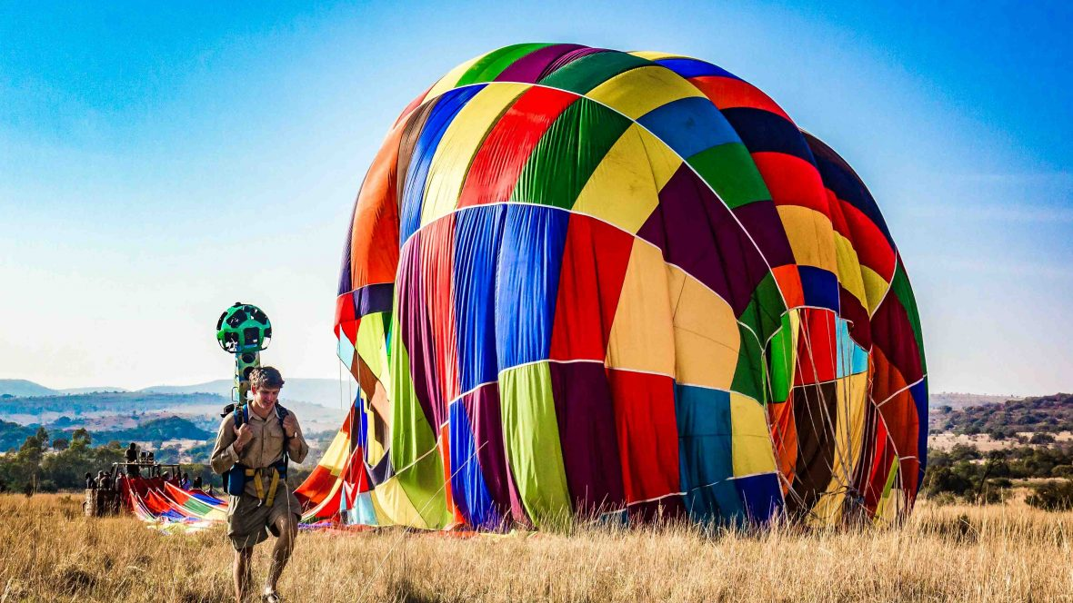 Hot air balloon launch site, Bill Harrop Balloon Safaris, Magalies River Valley.
