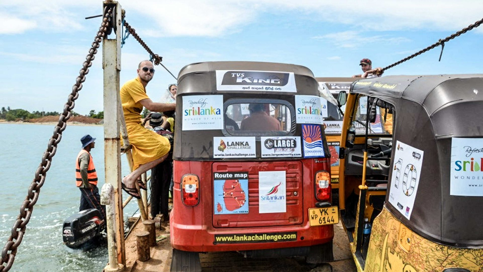 Challengers take a local ferry on the Lanka Challenge.