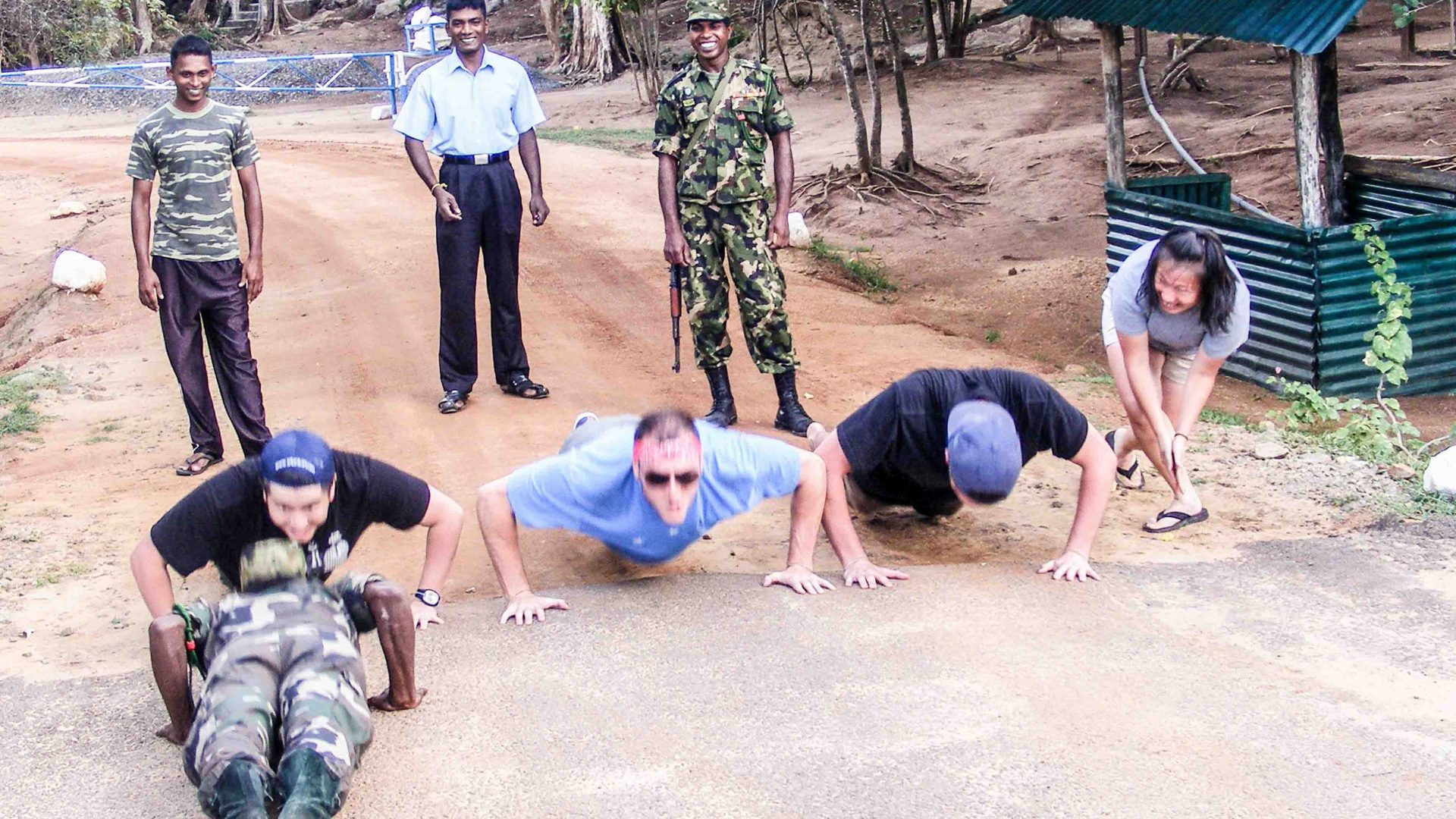 A push-up competition with soldiers is all par for the course on the Lanka Challenge.