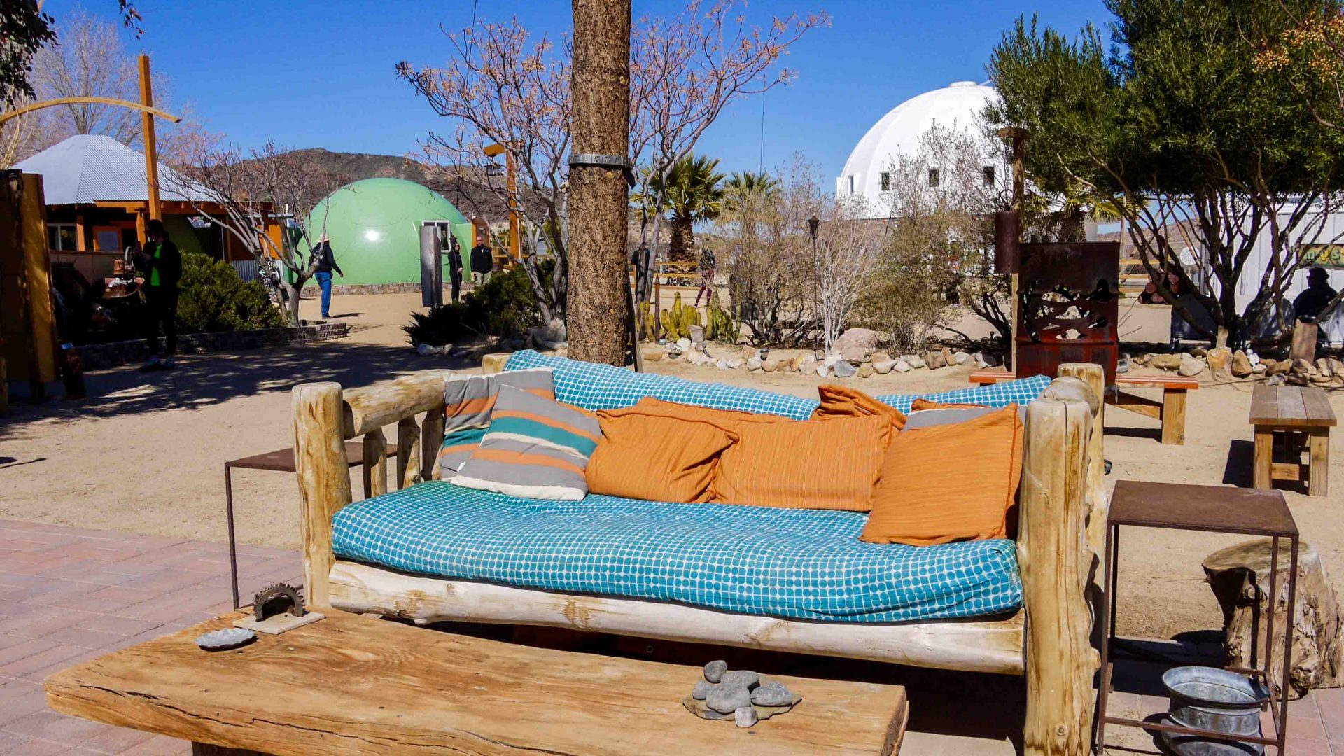 Plenty of places where visitors can relax and take in the mystical atmosphere surrounding the Integratron in the Mojave Desert.
