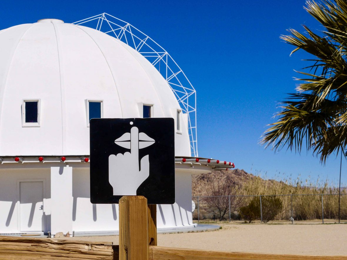 A sign at the Integratron asks visitors for silence.
