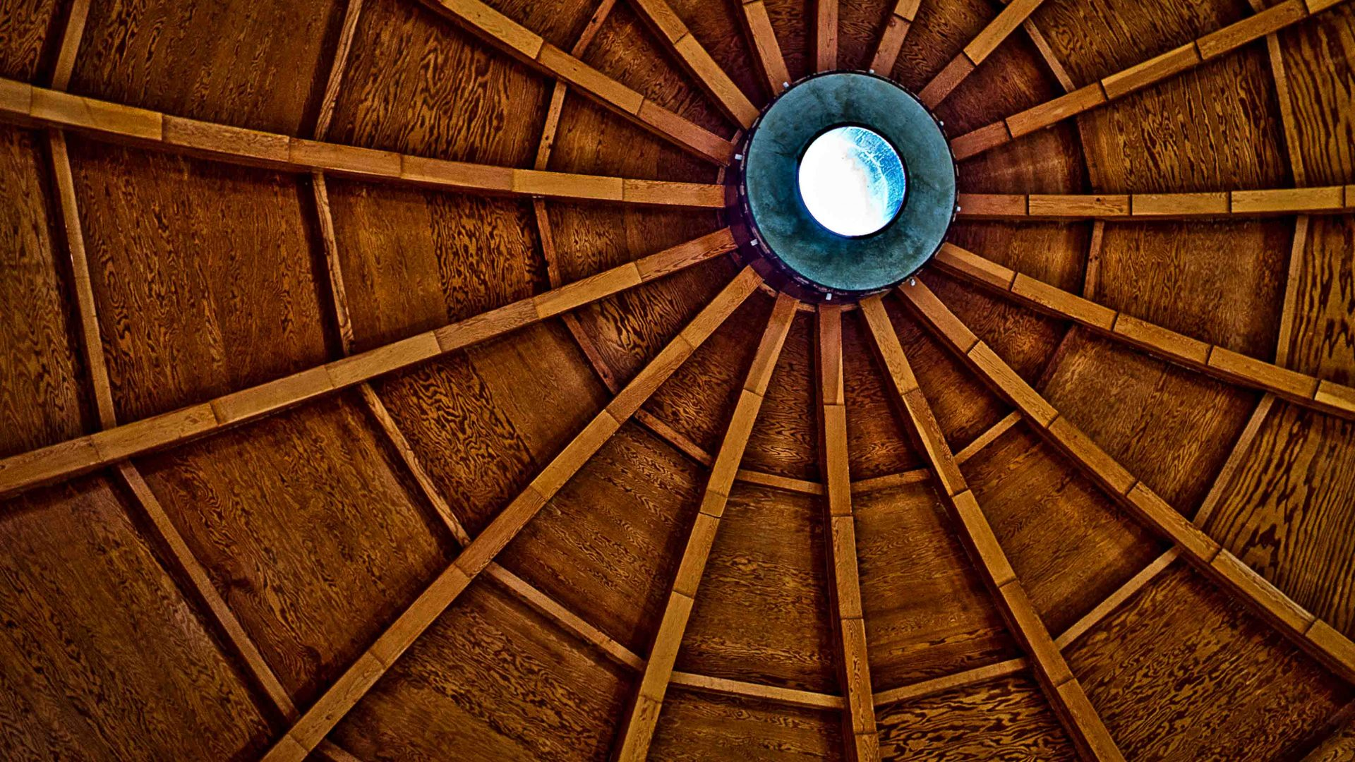 The intricate wooden ceiling of the Integratron.