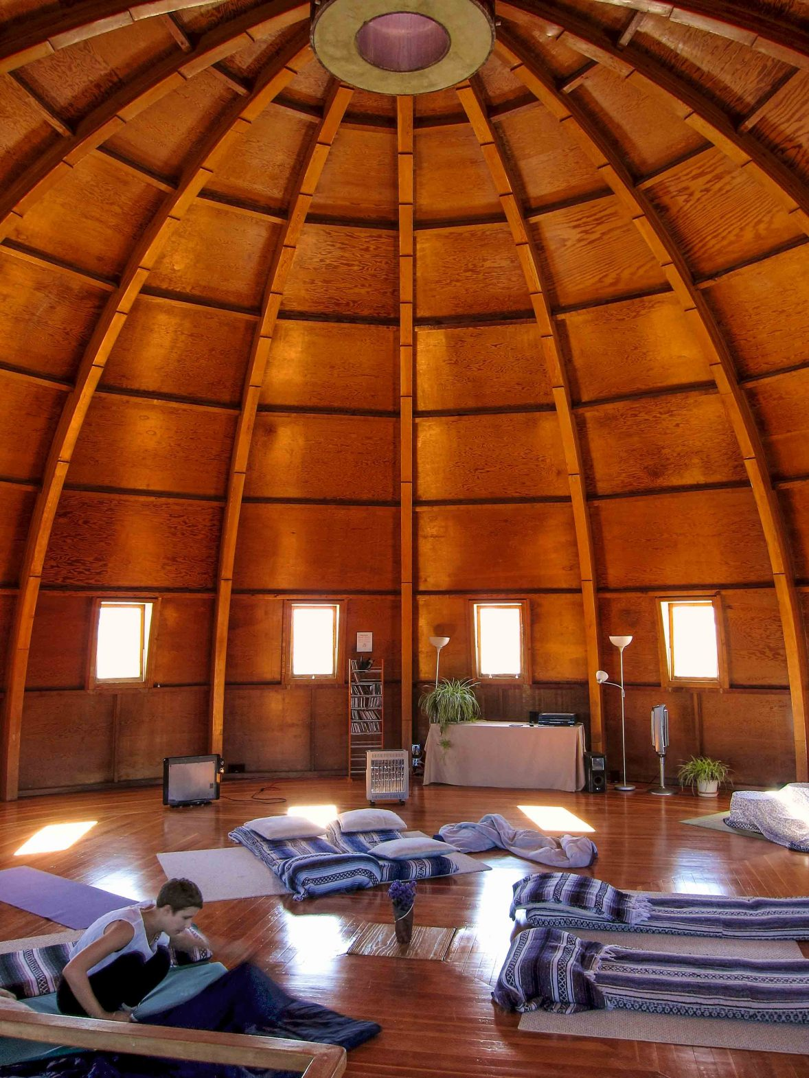 Beds are prepared for the sound bath at the Integratron.